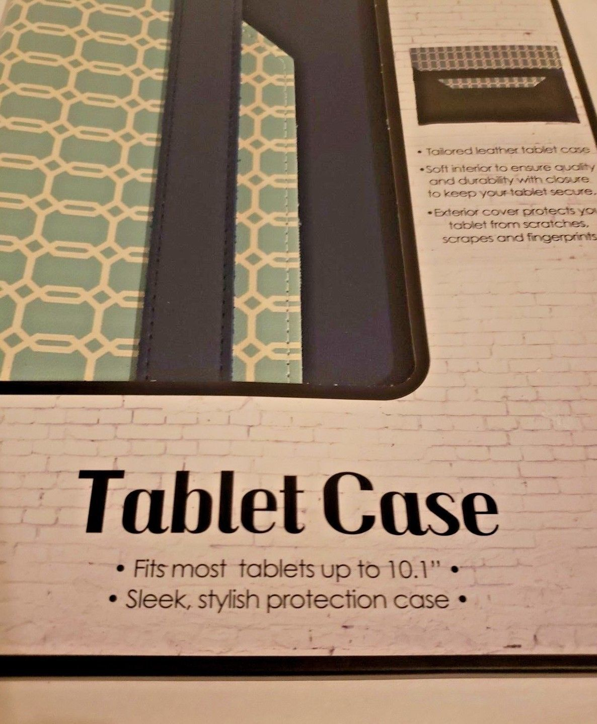 """Tailored Leather Tablet Case Fits Up To 10.1"""" (Teal and Dark Blue) image 2"""