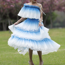 Blue Tiered Tulle Skirt Outfit High Waisted Long Tulle Skirt Holiday Tulle Skirt image 1
