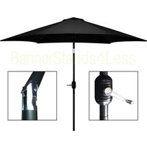9 ft Aluminum Outdoor Patio Garden Umbrella Market Yard Crank Tilt - BLACK - $79.99
