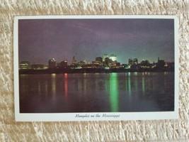 MEMPHIS ON THE MISSISSIPPI AT NIGHT.VTG POSTCARD*P49 - $18.69