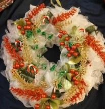 Christmas WREATH Handmade new whITE rED GREEN GOLD MEDIUM - $24.25