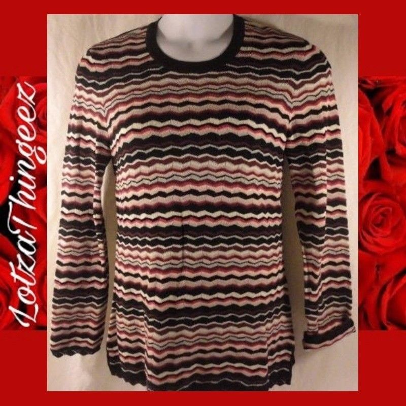 Austin Reed L Striped Long LS Sleeve Knit Sweater Viscose