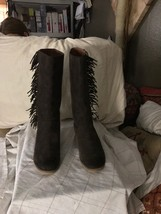 LUCKY BRAND Women's LK-Grayer Java Oiled Suede Gray Fringe Boots Select ... - $35.99