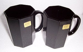 Vintage 1980's New Arcoroc Octime OCTAGONAL Black Glass Coffee Mugs Made... - $15.99