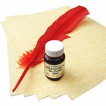 Dragon's Blood Spell Writing Kit w/ Parchment, Ink, and Feather #GRV20 - $34.17