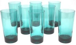 Set 8 Vtg Teal Green Blue Aqua Glass Tumblers 5.5'' MCM Retro Atomic Modern - $71.10