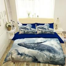3D White Cloud Whale R790 Animal Bed Pillowcases Quilt Duvet Cover Queen... - $72.63+