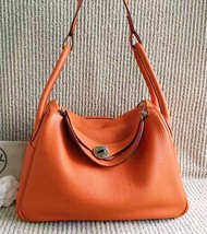 100% Authentic HERMES Taurillon Clemence Lindy 34 ORANGE Shoulder Bag PHW image 9