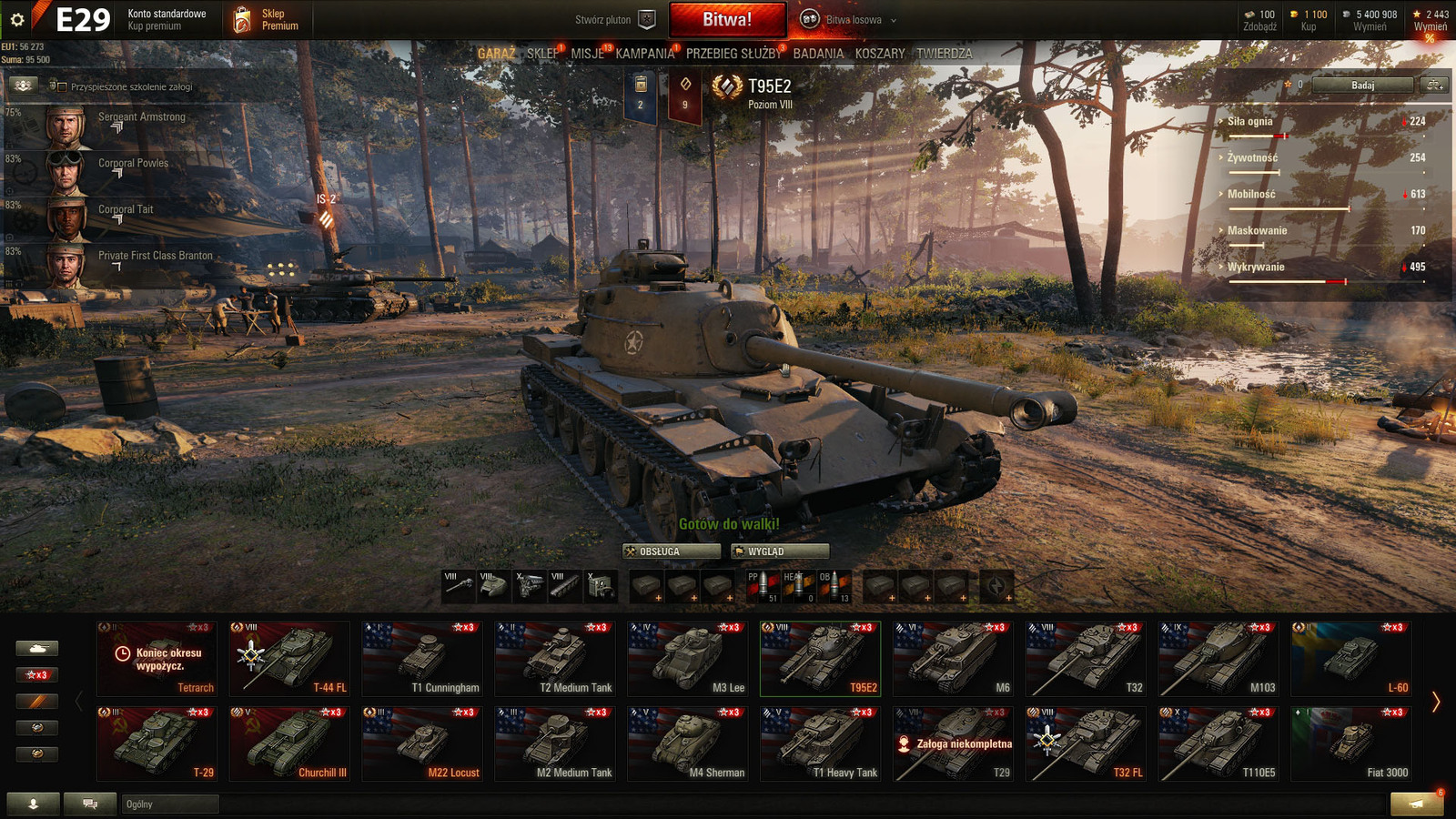World of tanks account E29 T110E5 full line, and 17 similar items
