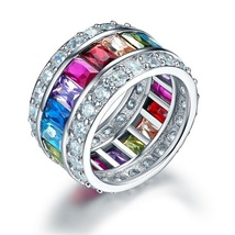 Multi-Color Stone Band Wedding Anniversary Solid 925 Sterling Silver Ring - $139.99