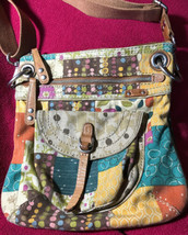 Fossil Key-Per Floral Canvas Crossbody Handbag Bag Vintage Flower Boho P... - $23.75