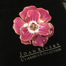 "Joan Rivers PRIMROSE PURPLE LILAC GOLDTONE ENAMEL CRYSTAL 2"" Pin Brooch NEW - $81.00"