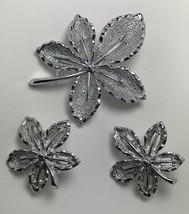 Sarah Coventry Vintage Silver tone Brooch and Earring set Matching Maple... - $4.94