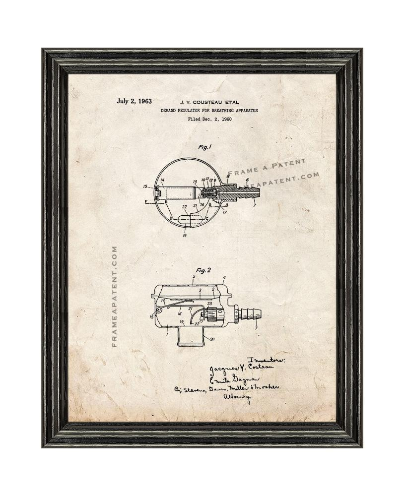 Primary image for Jacques Cousteau Demand Regulator For Breathing Apparatus Patent Print Old Look