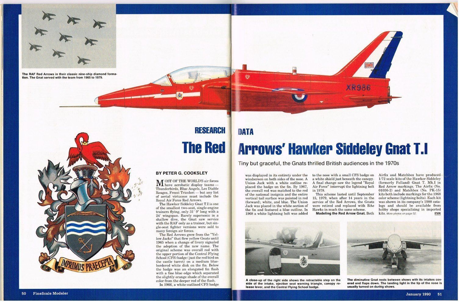 FINE SCALE MODELER Magazine January 1990 Red Arrows Hawker Gnat T.1