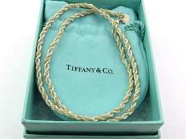 Authentic TIFFANY & CO Sterling Silver 18K Gold Rope Necklace - $259.97