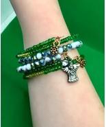 NEW Women's Memory Wire Copper 3 Bracelets,CZECH Beads,Angel Charm Gift... - £17.98 GBP
