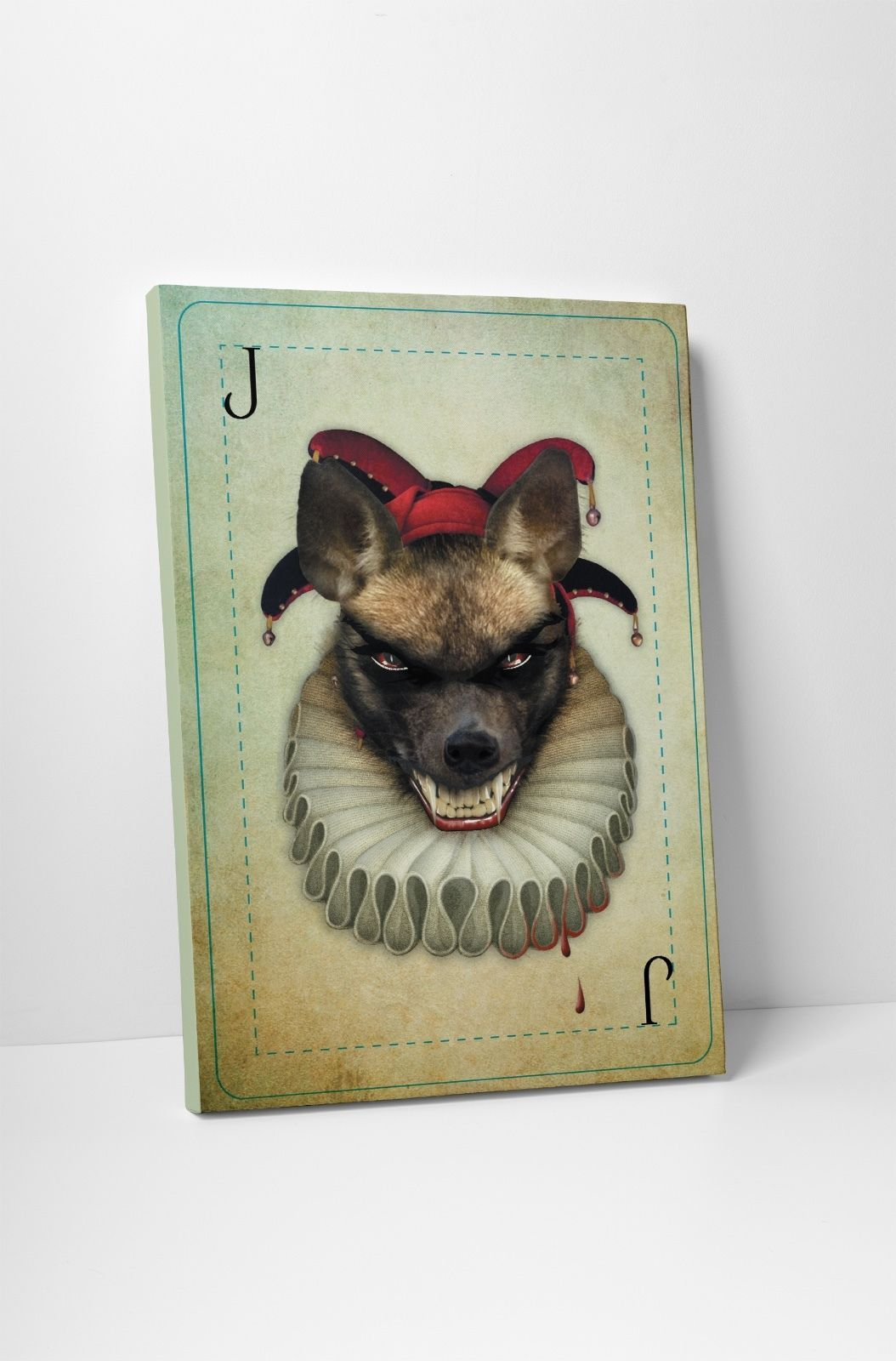 Joker II Vintage Playing Card Gallery Wrapped Canvas Print - $44.50 - $59.35
