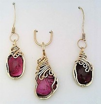 Pink Tourmaline Gold Wire Wrap Pendant Earrings Set 7 - $60.00