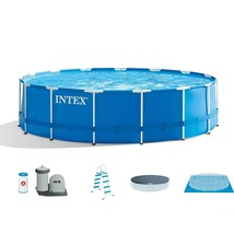 Intex 15ft x 48in Metal Frame Above Ground Pool Set with Pump, Cover & Ladder - $1,999.99