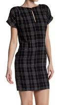NWT Ali & Jay Shift Dress XS Day At The Bazaar Black Plaid Split Neck Li... - $29.65