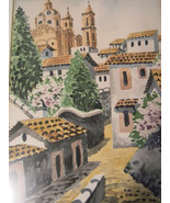 Vintage Watercolor Painting Village Scene , signed - $125.00