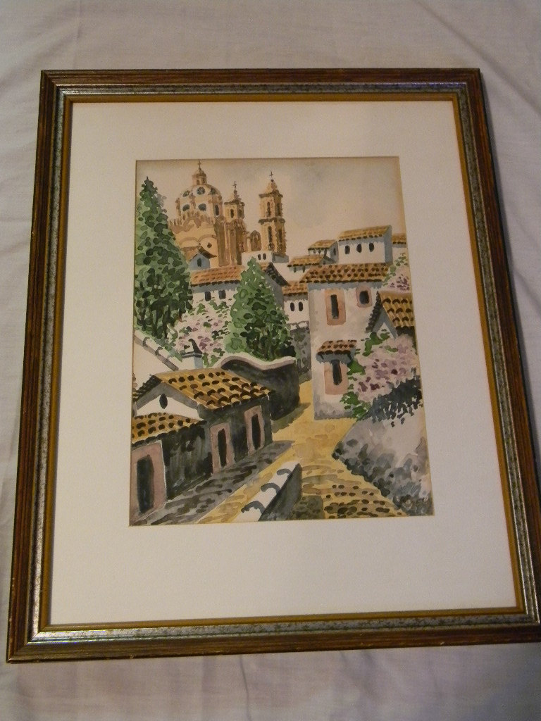 Vintage Watercolor Painting Village Scene , signed - Paintings