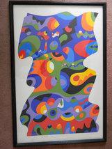 "Vintage Huge 42"" x 27"" Framed Abstract by Listed Artist Sam Maitin (1928... - $600.00"