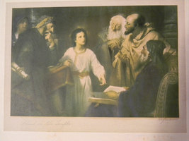 Vintage signed Antique Religious print - Christ in the Temple - Heinrich... - $195.00