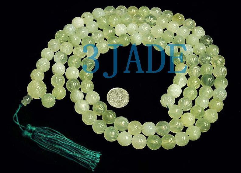 "59"" Hand Carved Tibetan 108 Jade Prayer Beads Mala"