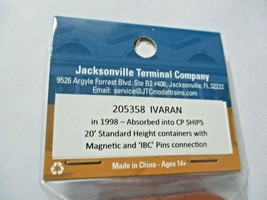 Jacksonville Terminal Company # 205358 IVARAN 20' Standard Container N-Scale image 2