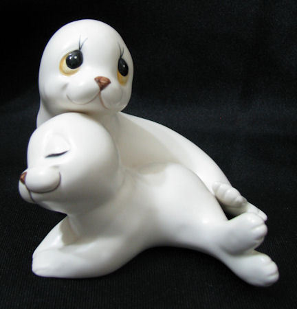 Pair of White Seal Ceramic Figurines by Oxford
