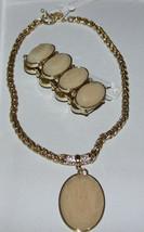 NWT Ann Taylor Jewelry Set Rose Gemstone Pendant Necklace & Stretch Brac... - $32.66