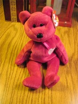 Valentina TY Beanie Baby Ruby Red Bear no number in tush tag-hologram tags image 1