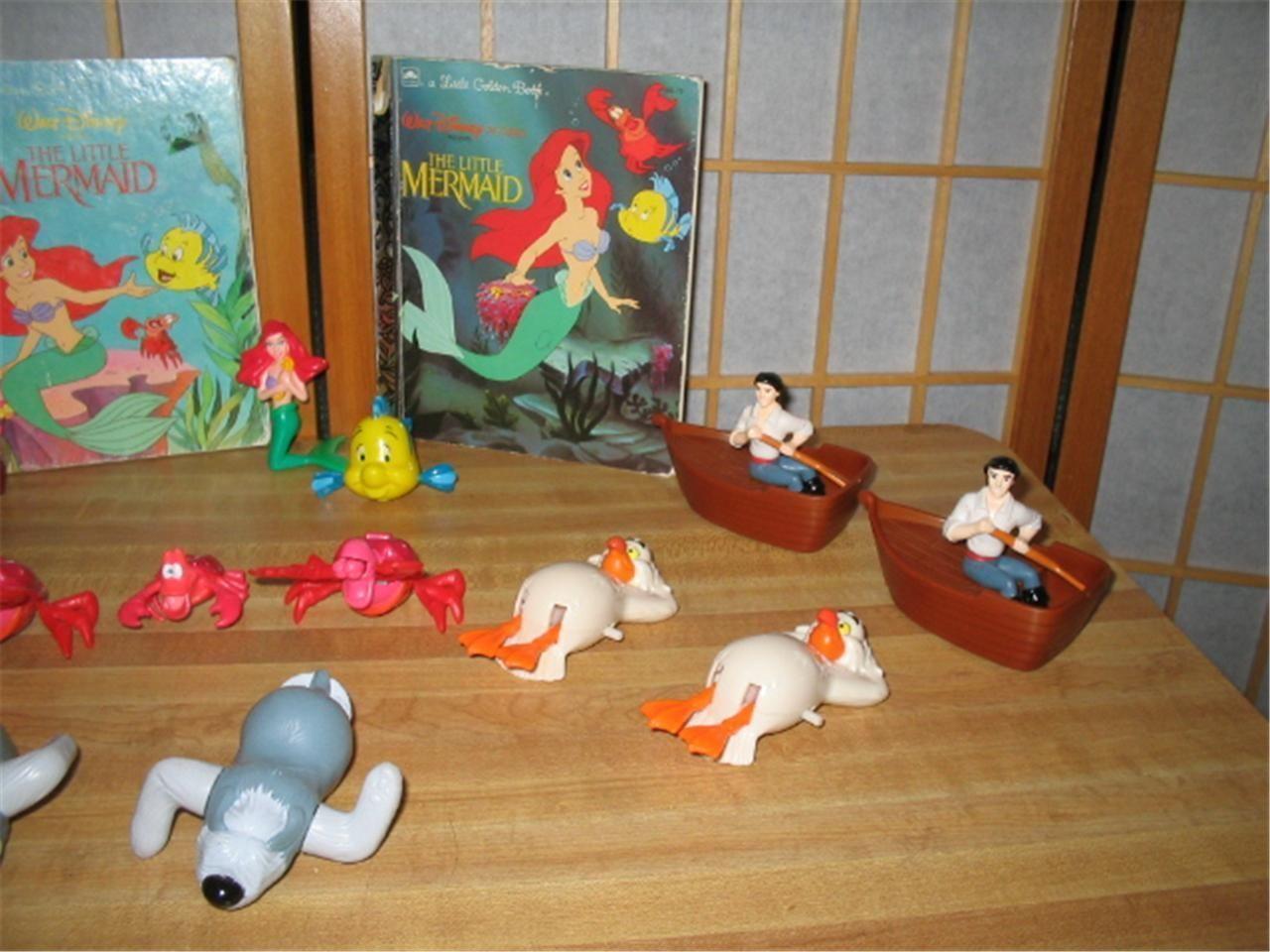 Little Mermaid Vintage 1991-92 TOYS 18 pcs & 3 Little Golden Books Disney