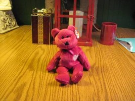 Valentina TY Beanie Baby Ruby Red Bear no number in tush tag-hologram tags image 2