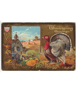 Vintage Thanksgiving Postcard Series No 1 Patriotic Wishbone - $12.95