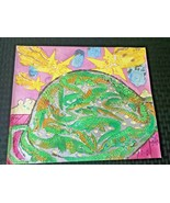 Outsider Art Rare Maija Peeples Bright 1969 Crocodile Glitter Painting L... - $513.10