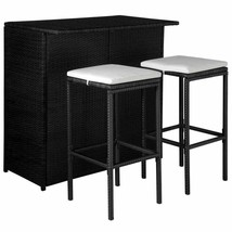 44175 vidaXL Outdoor Bar Dining Set 5 Pieces Poly Rattan Black and Cream... - $157.99
