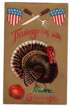 Vintage Thanksgiving Postcard Patriotic Turkey Shields Knife image 1
