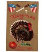 Vintage Thanksgiving Postcard Patriotic Turkey Shields Knife - $12.95