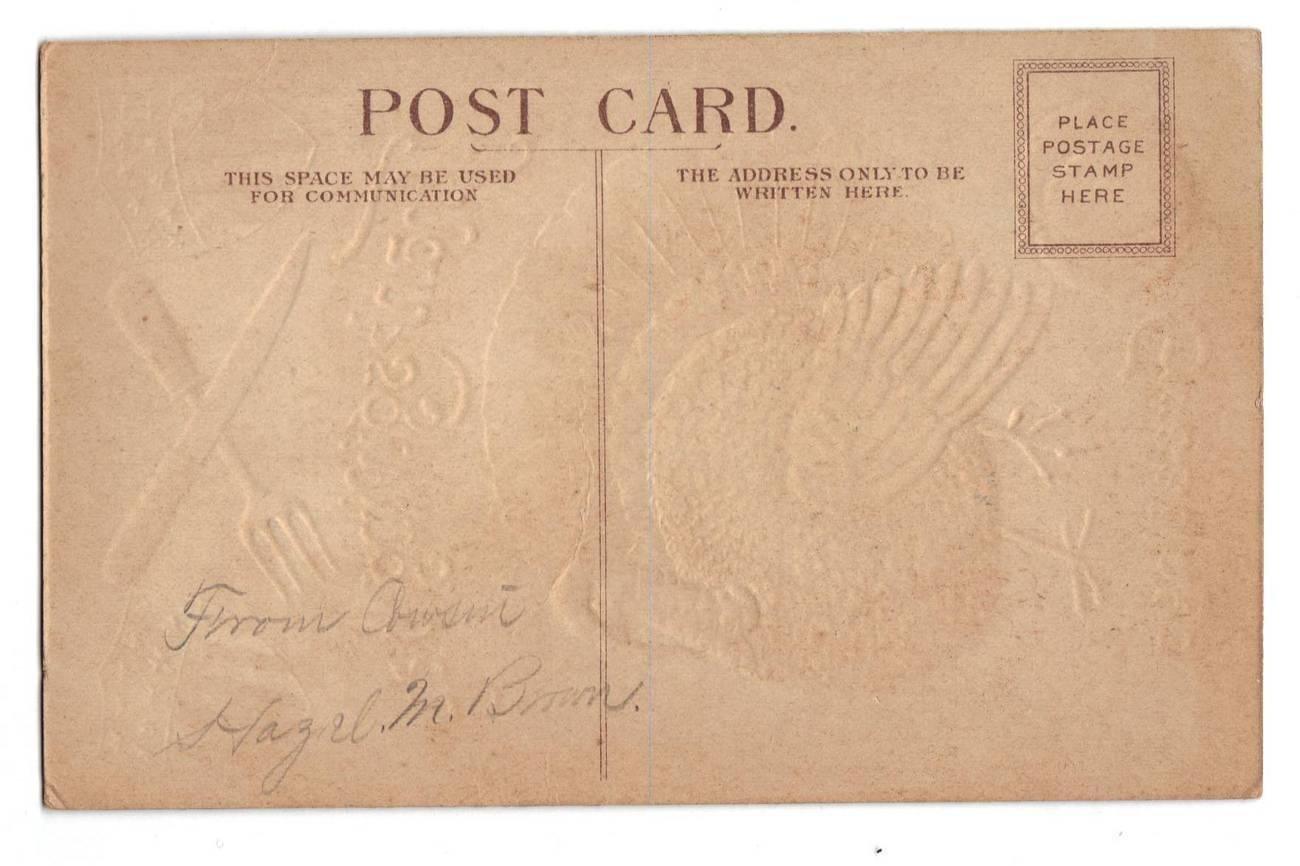 Vintage Thanksgiving Postcard Patriotic Turkey Shields Knife image 2