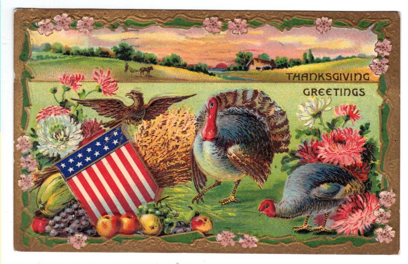 Vintage Thanksgiving Postcard Patriotic Eagle Turkeys