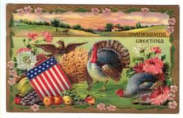 Vintage Thanksgiving Postcard Patriotic Eagle Turkeys image 1