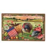Vintage Thanksgiving Postcard Patriotic Eagle Turkeys - $12.95