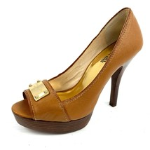 MICHAEL Michael Kors AF12D Butterscotch Leather Peeptoe Platform Heels S... - $44.54