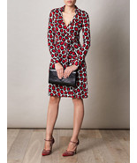 DIANE VON FURSTENBERG New Jeanne Stone Leopard Medium Red Dress siz 6 - $249.99