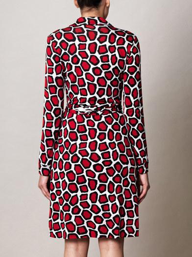 DIANE VON FURSTENBERG New Jeanne Stone Leopard Medium Red Dress siz 6