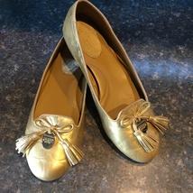 Coach Metallic Gold Suede DAHLILA Tassel Signature C Ballet Flat A0057, ... - $49.00