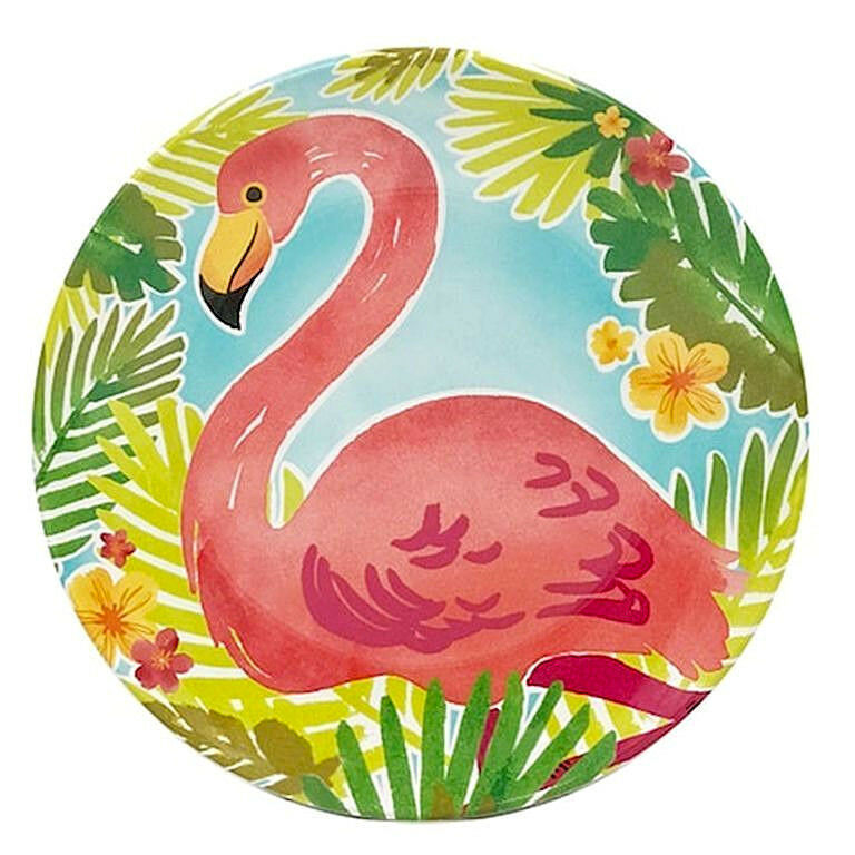 "Flamingo Melamine Plates 9"" Appetizer Dessert Salad Lunch set of 4 Beach House"